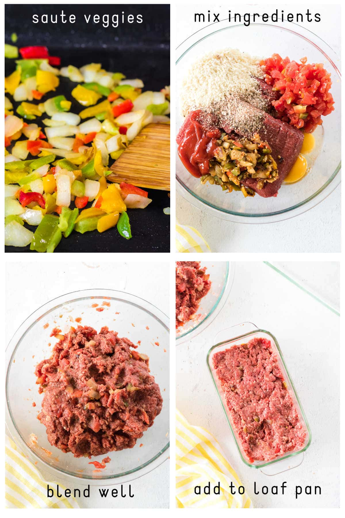 Steps for mixing and forming the meatloaf recipe.
