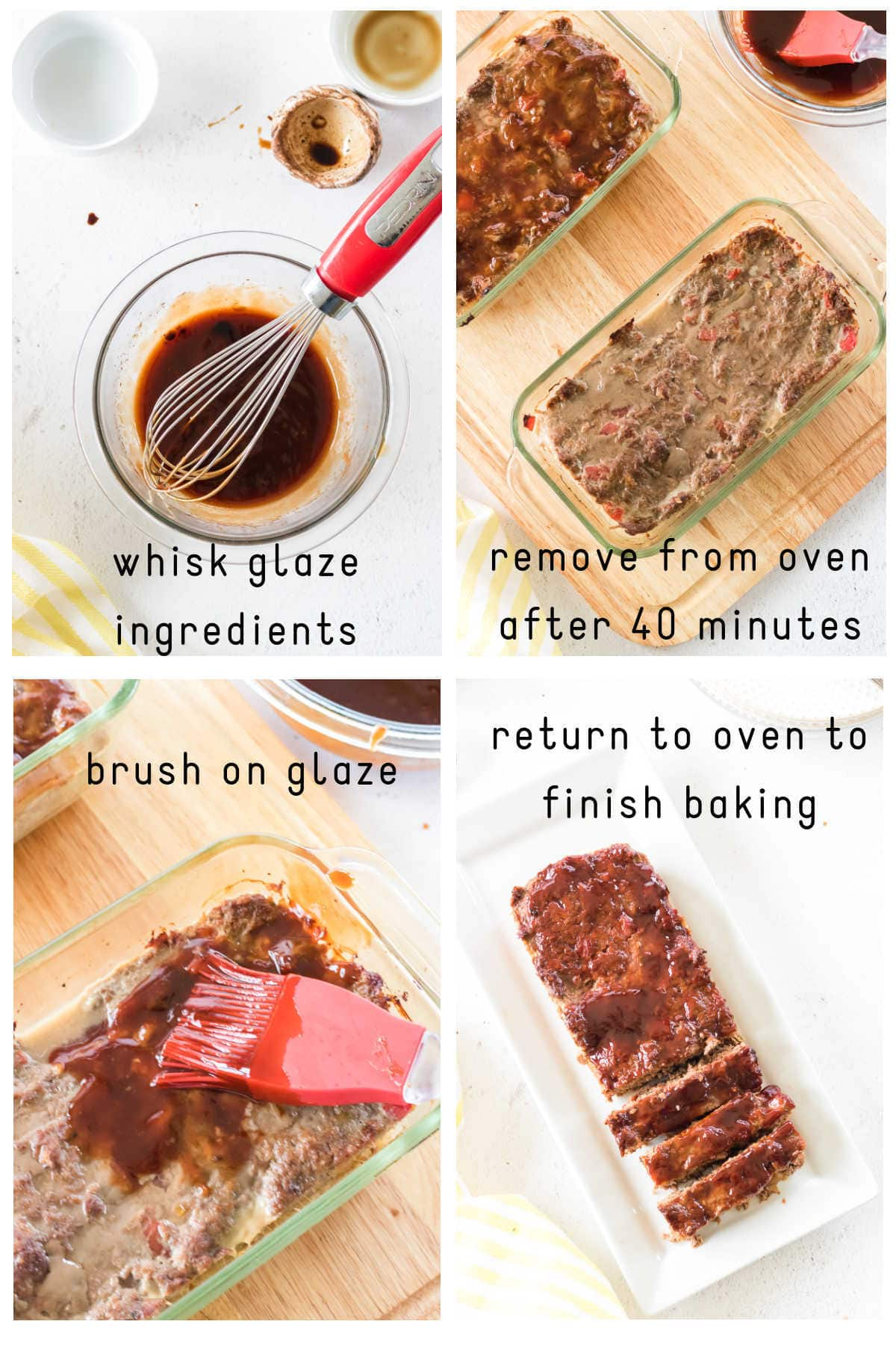 Step by step images for making the glaze and glazing the meatloaf.