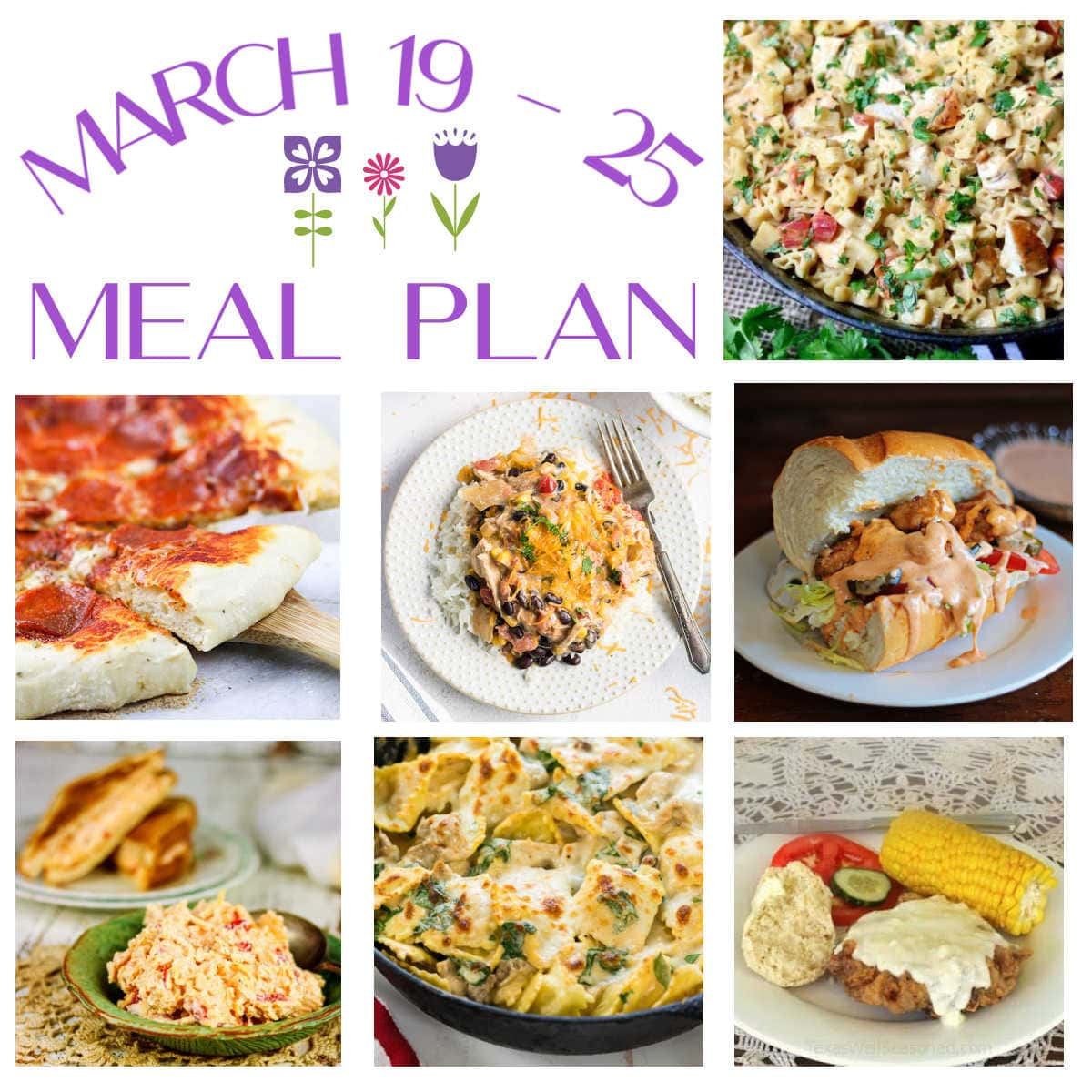 A collage of the main dishes included in the March 19-25 meal plan.