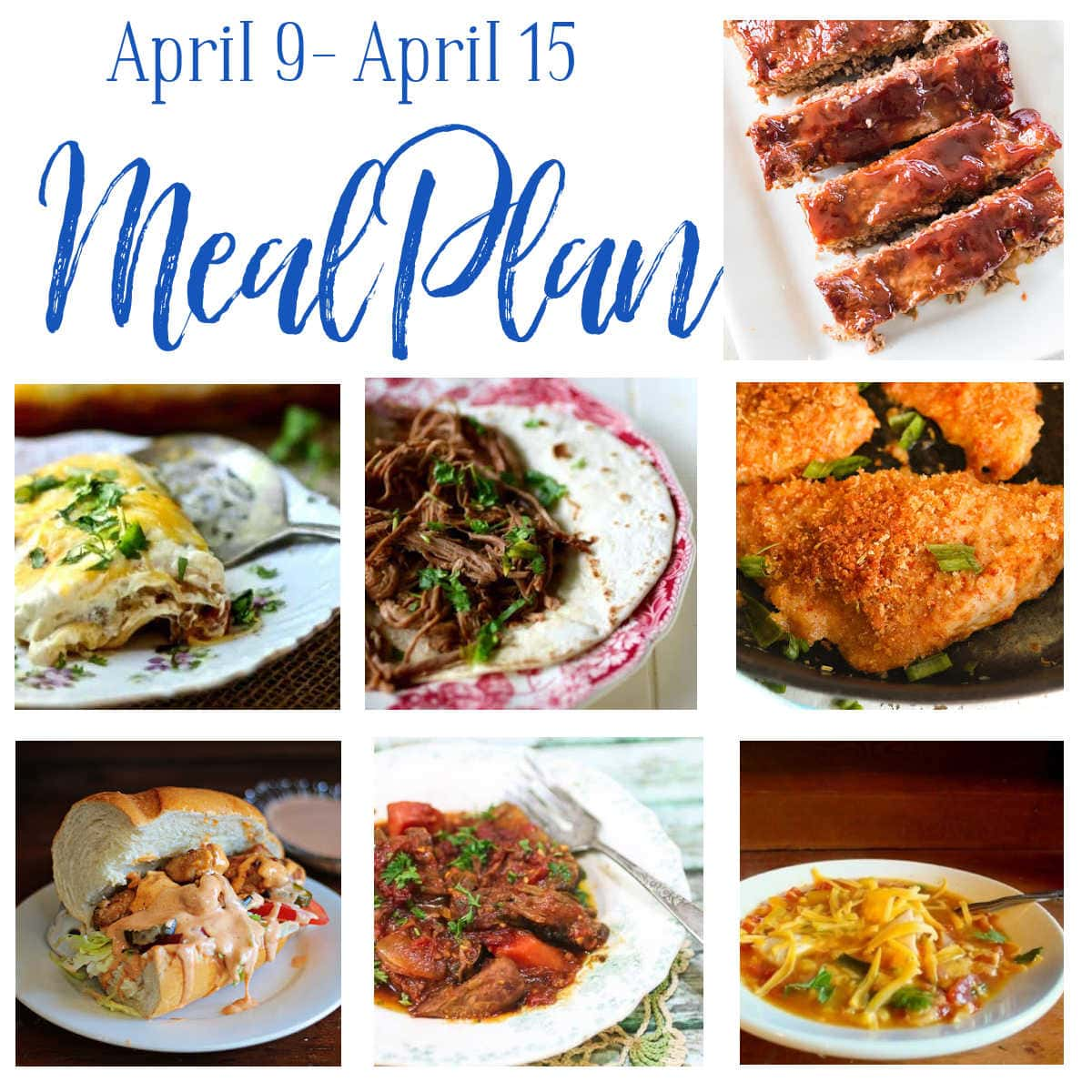 Collage of the main dishes for this week's meal plan.