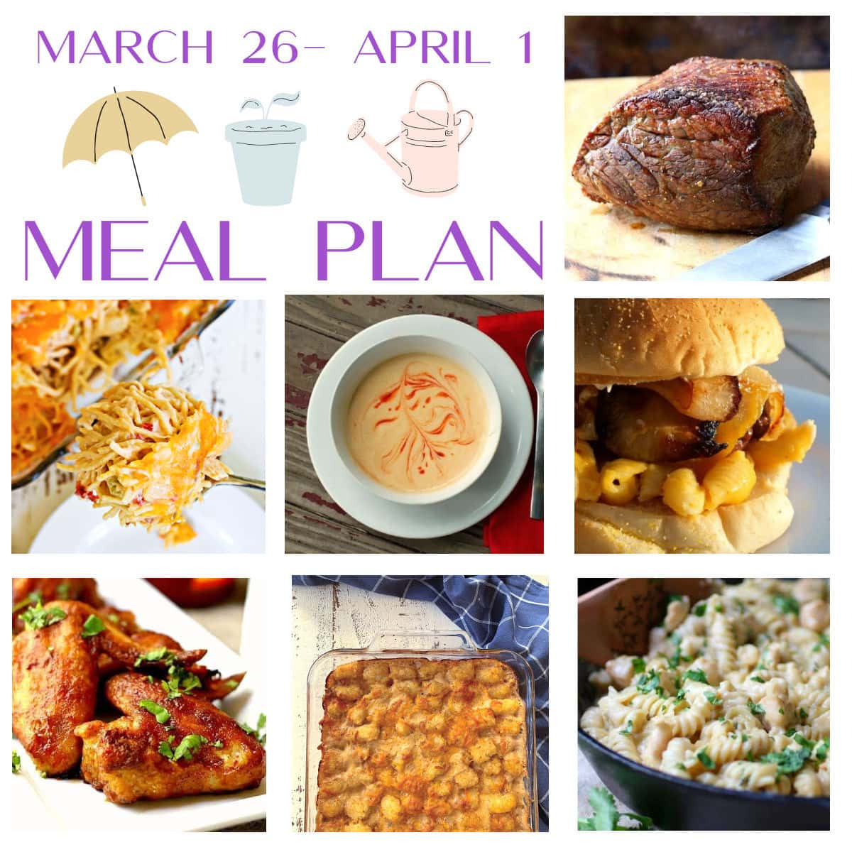 Collage of images from this menu plan with March 26 to April 1 in text.
