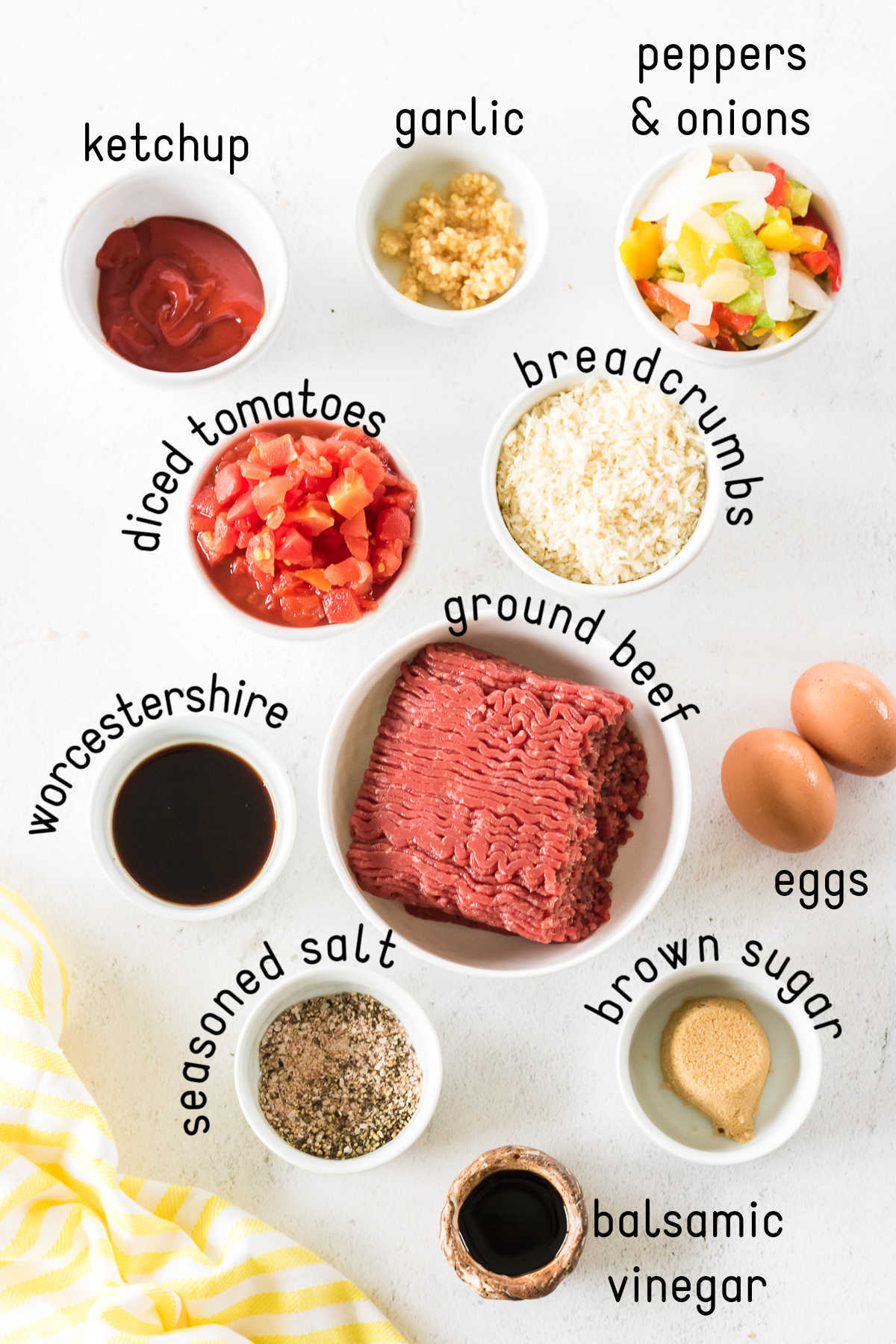 Labeled ingredients for homemade meatloaf.