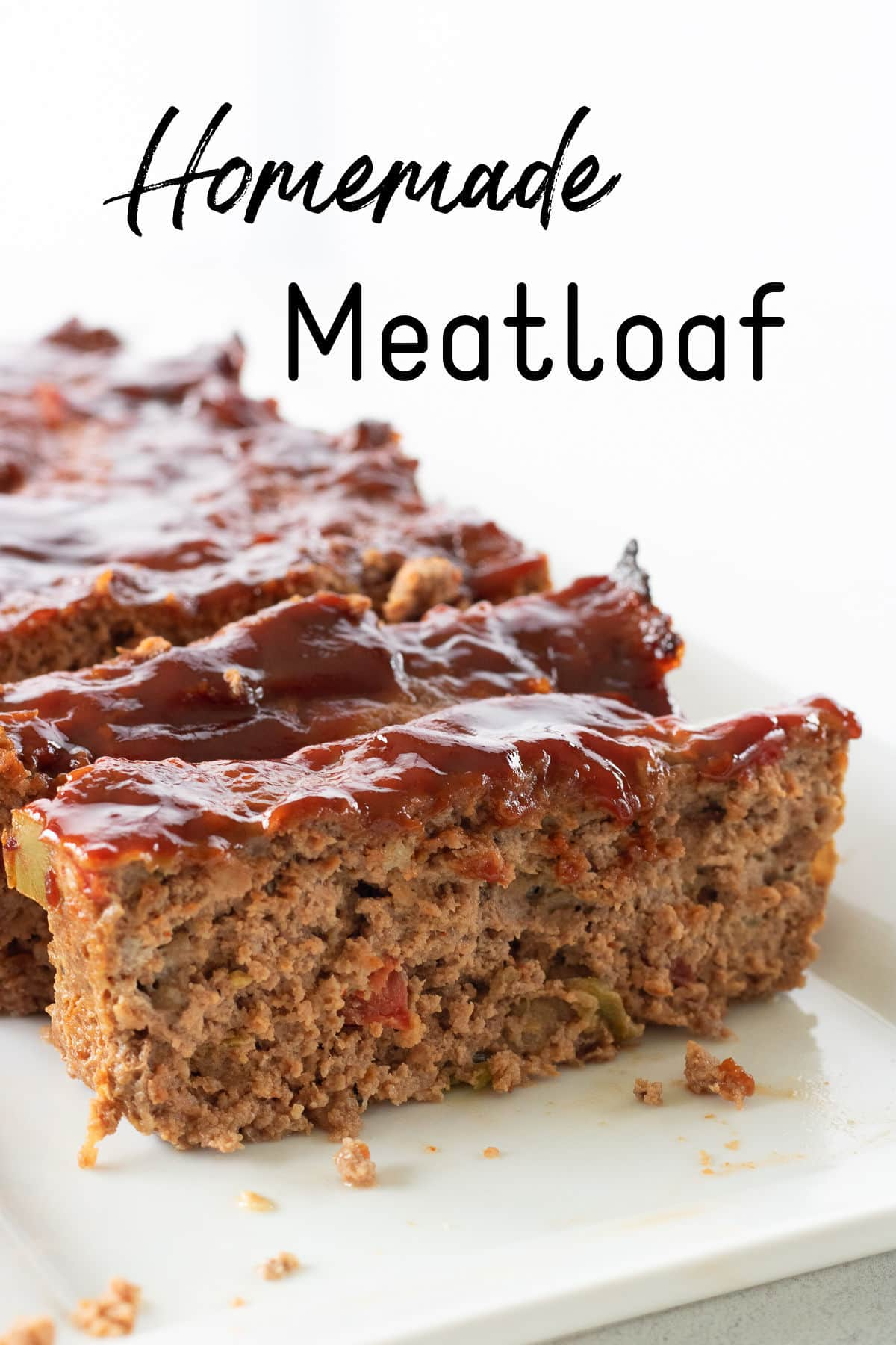 Closeup of sliced meatloaf with title text overlay.