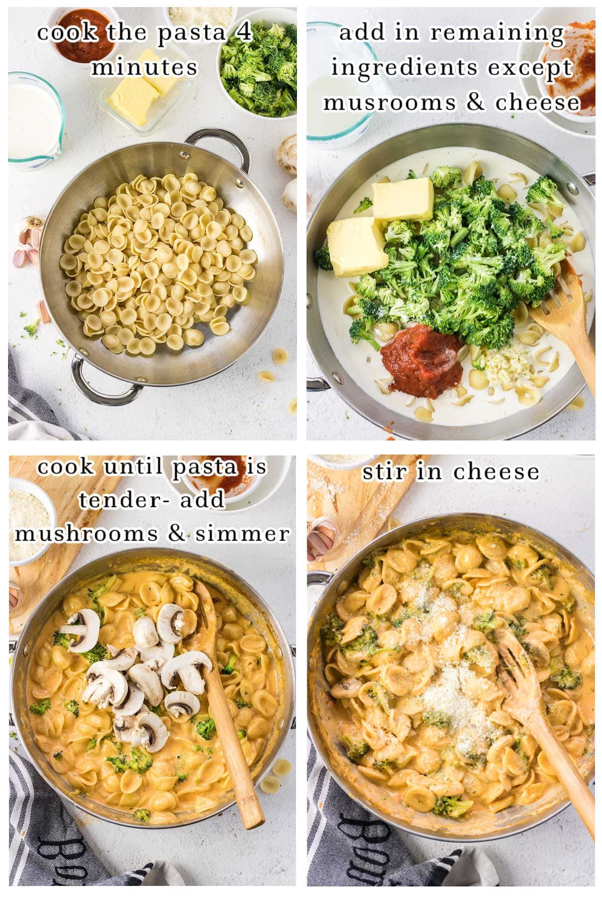Step by step images showing how to make pasta con broccoli.