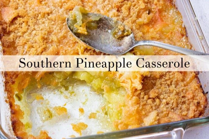 Clickable image of pineapple casserole goes to the YouTube video.