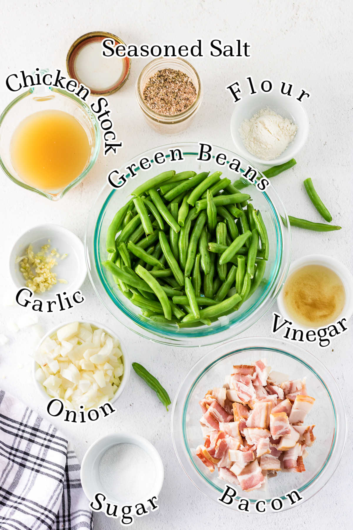 Labeled ingredients for smothered green beans.