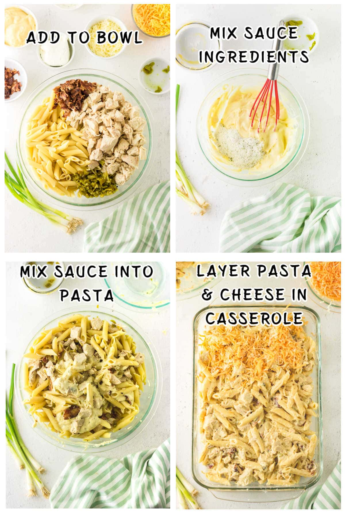 Collage of step by step images for making this chicken casserole recipe.