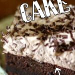 A square of chocolate cake with whipped frosting. Title text overlay for Pinterest.
