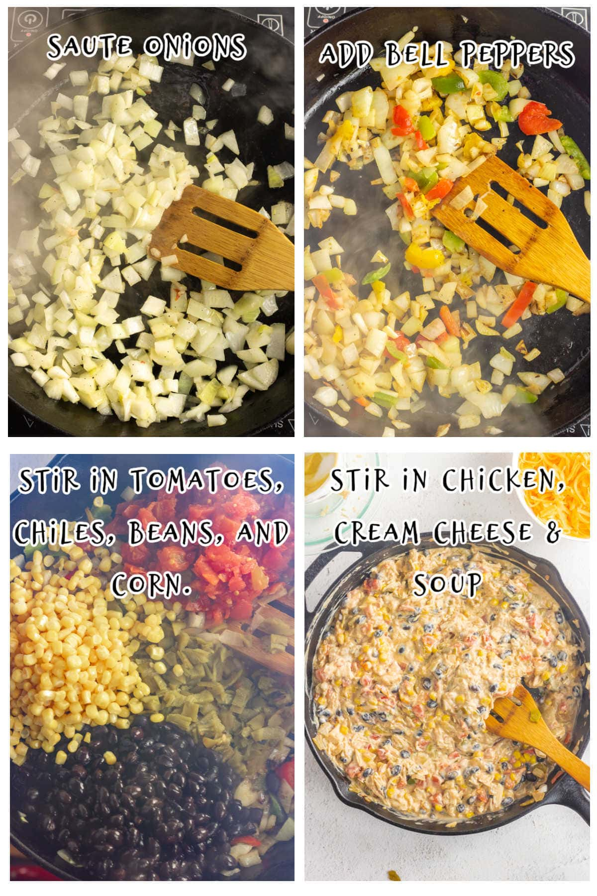 Collage of images showing steps 1-4 for making this recipe.