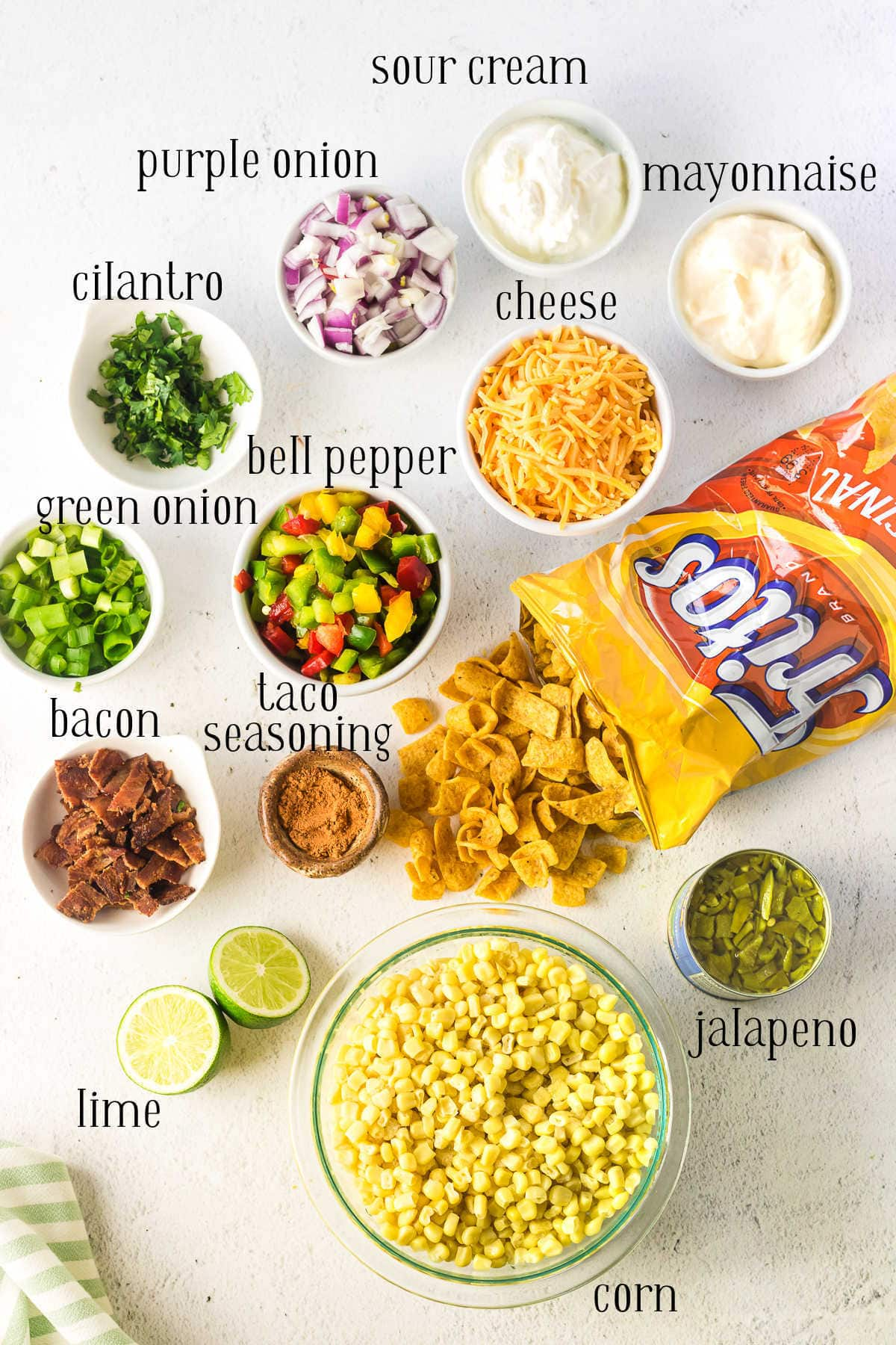 Labeled Frito salad ingredients.