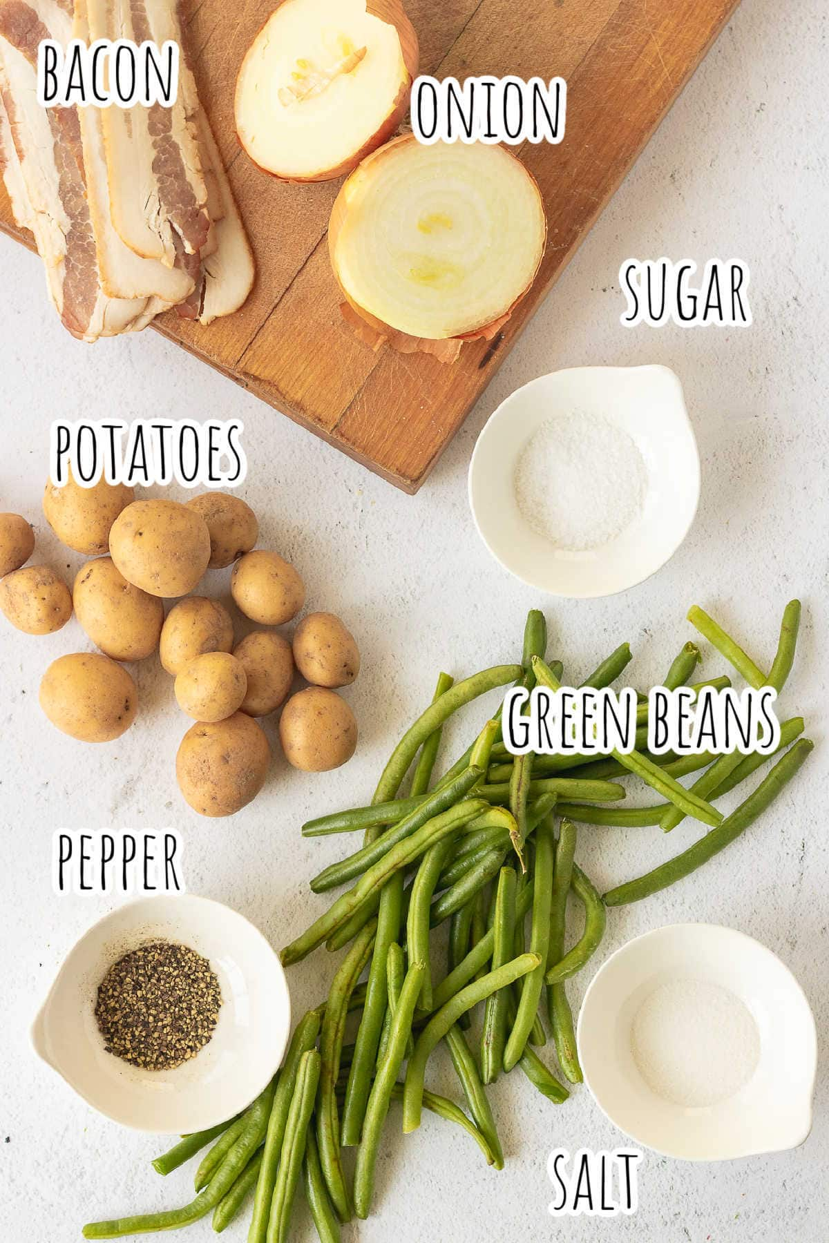 Labeled ingredients for green beans and potatoes recipe.