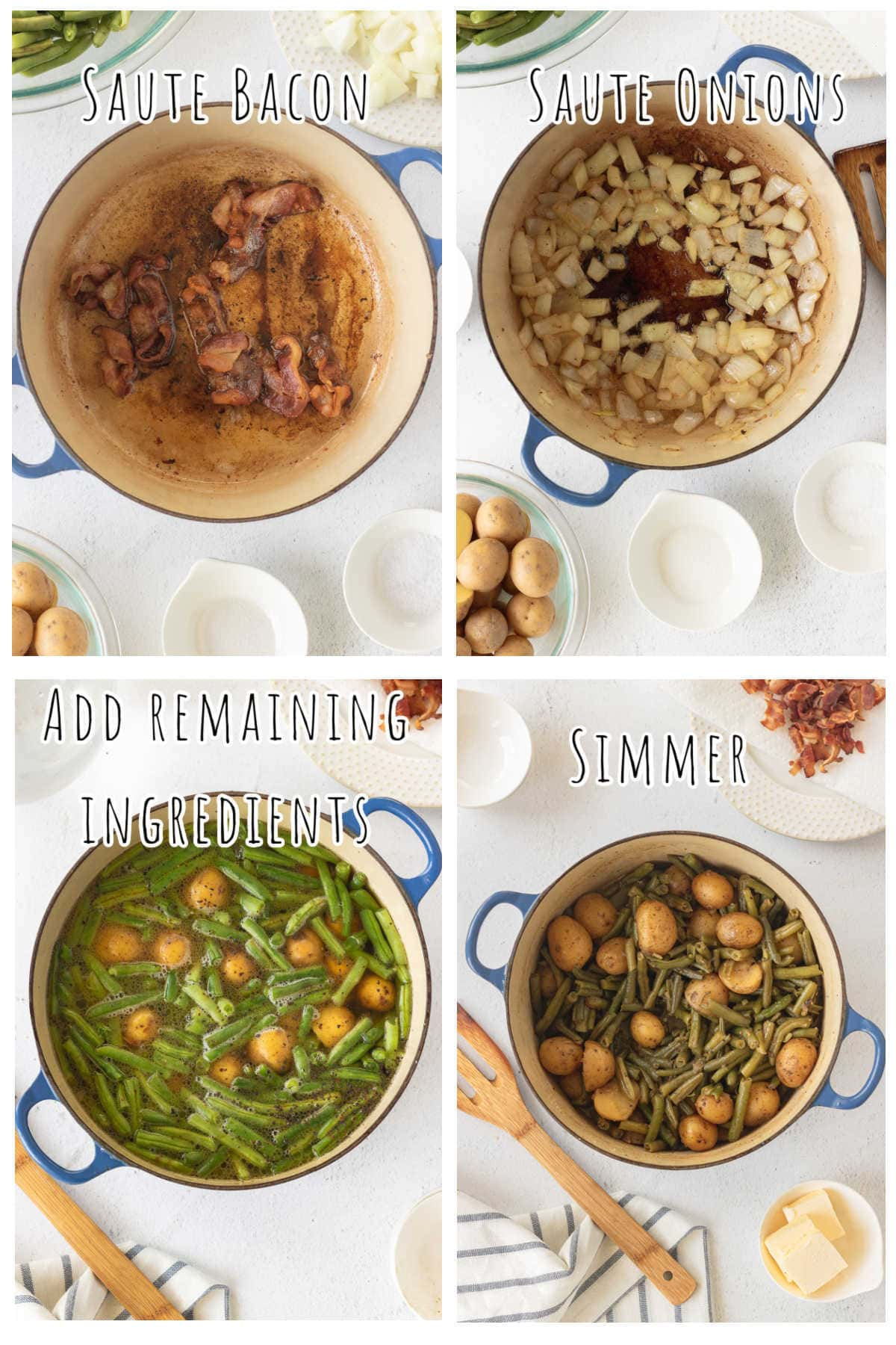 Step by step images showing how to make green beans and potatoes.