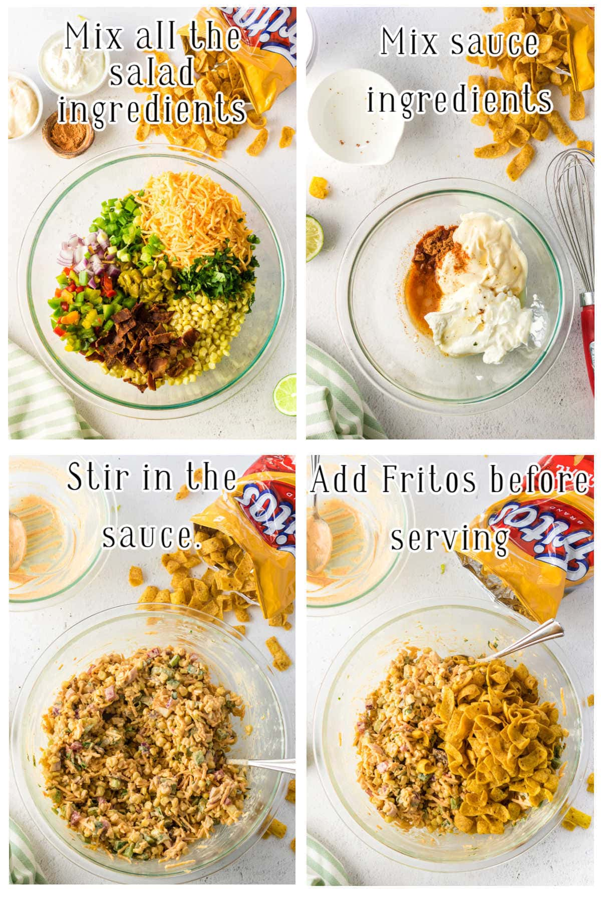 Step by step images showing how to make Frito salad.