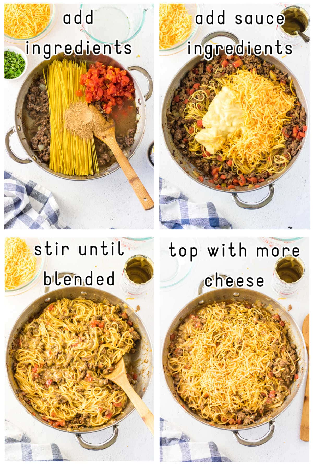 Step by step images showing how to make taco spaghetti.