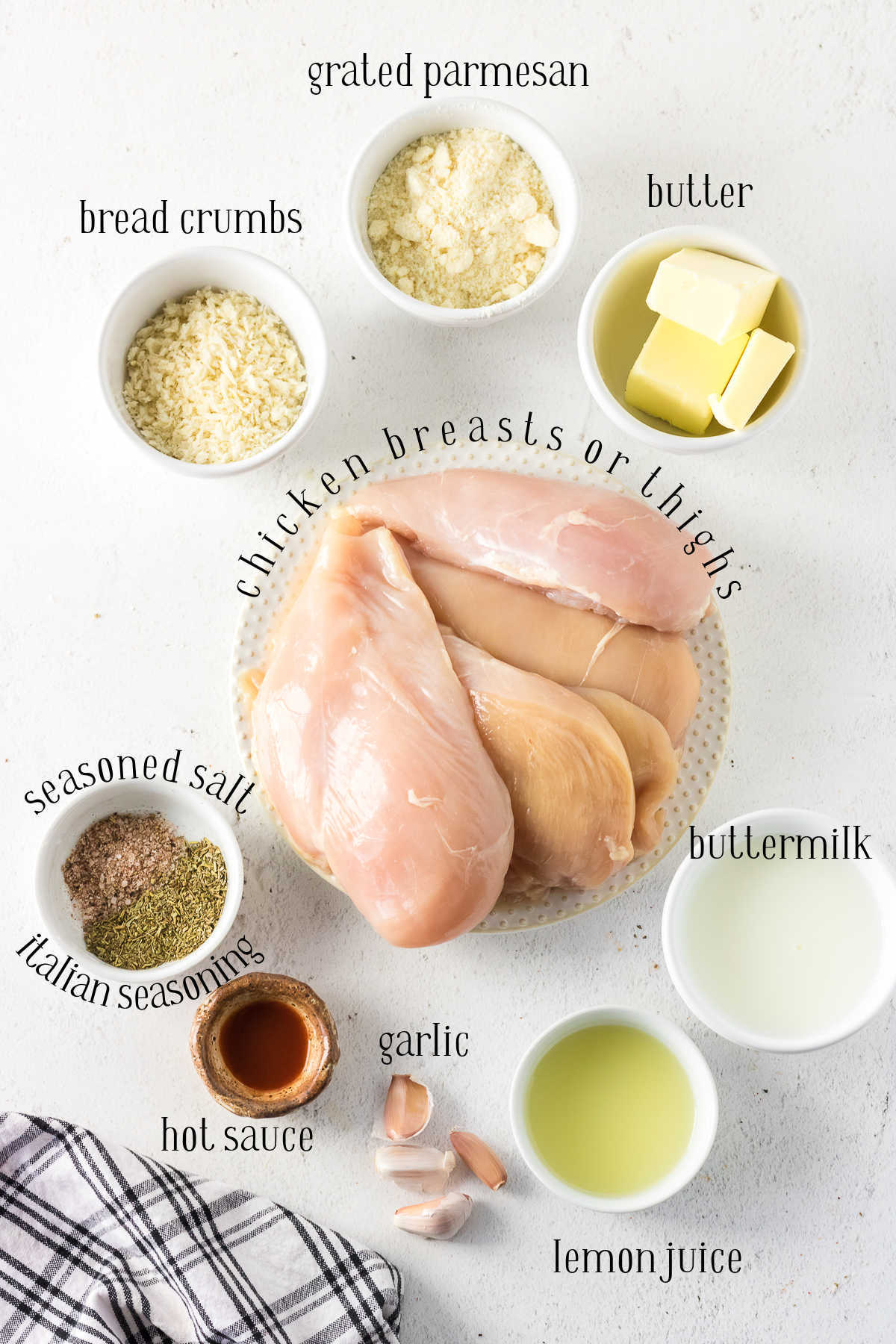 Labeled ingredients for this chicken recipe.
