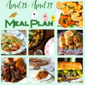 A collage of the dishes included in this week's meal plan with a focus on fresh summer flavor.
