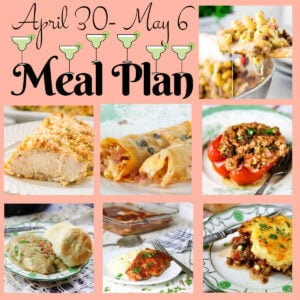 Collage of image showing the main dishes in this meal plan.