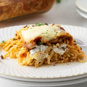 Close up of a plateful of million dollar pasta with cheese on top.