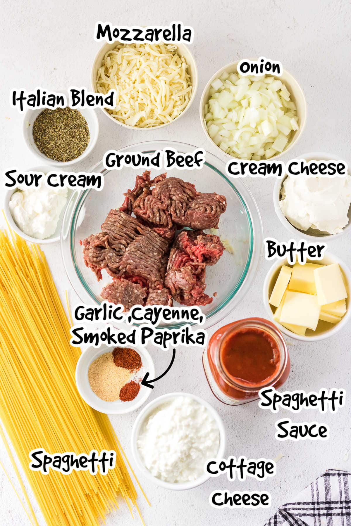 Labeled ingredients for million dollar spaghetti.