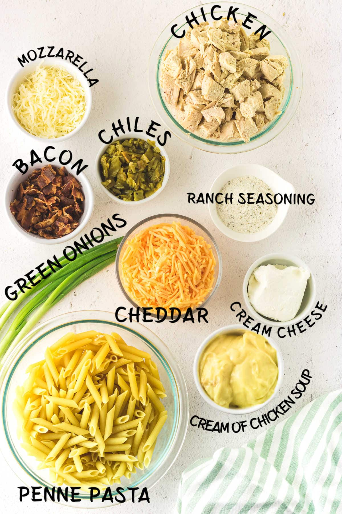 Ingredients for chicken bacon ranch casserole.
