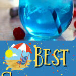 A blue cocktail with text overlay for Pinterest.