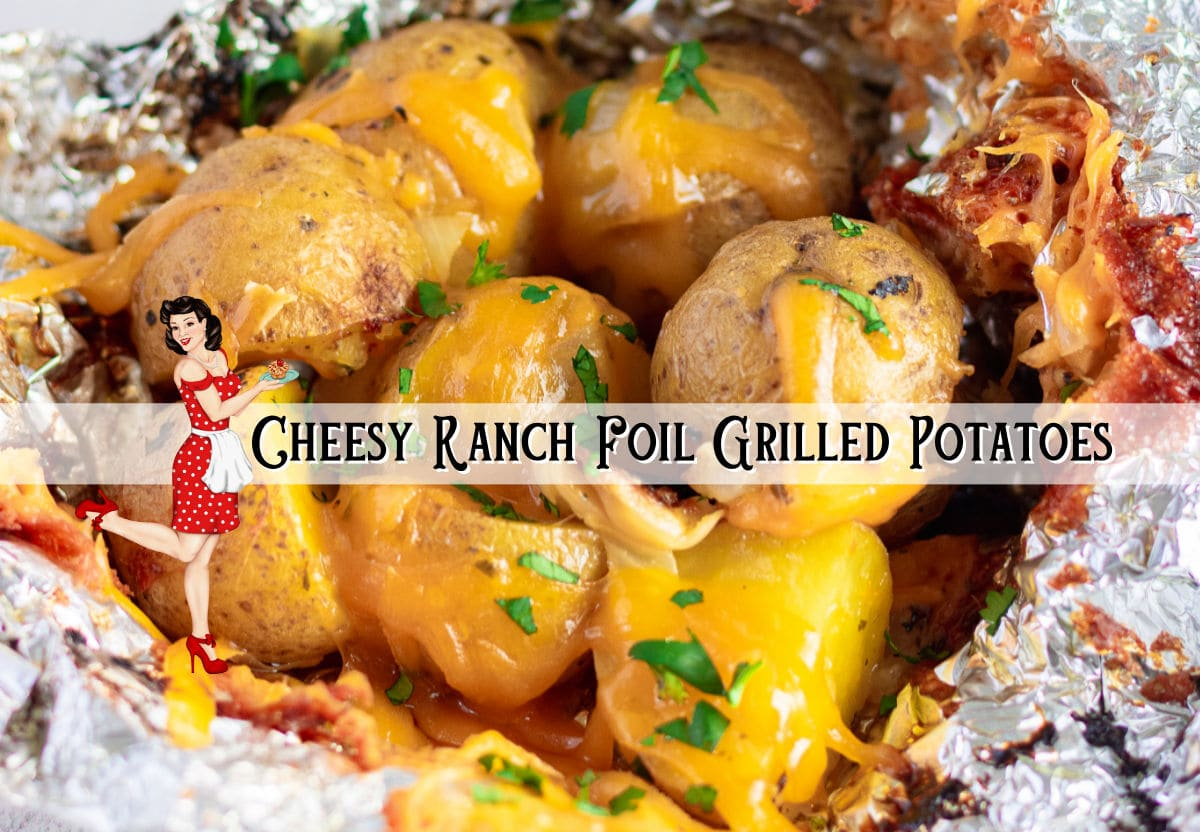 Potatoes in foil with a text overlay. Clickable image to the accompanying YouTube video.