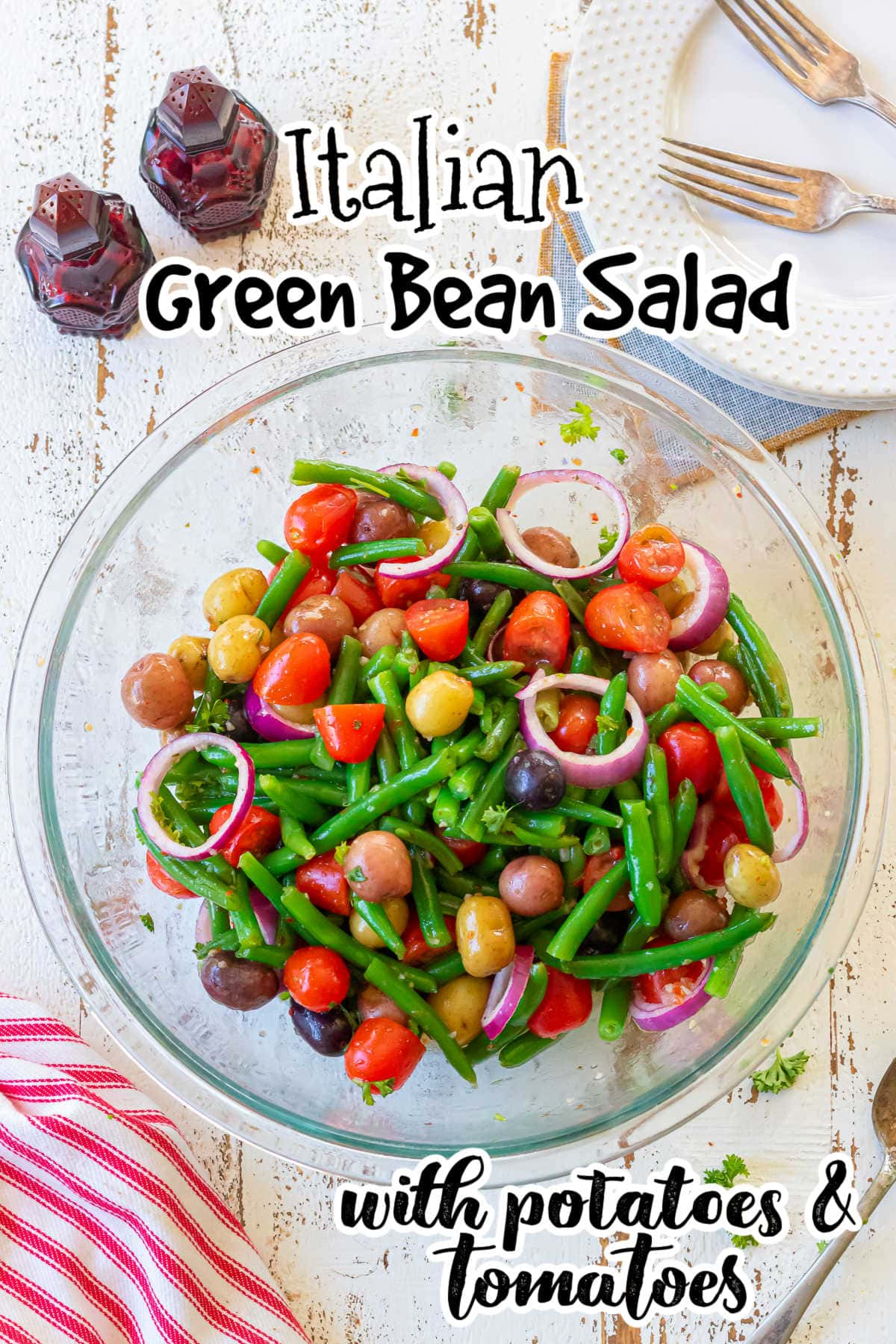 Overhead view of a bowl of green bean salad with title text overlay.