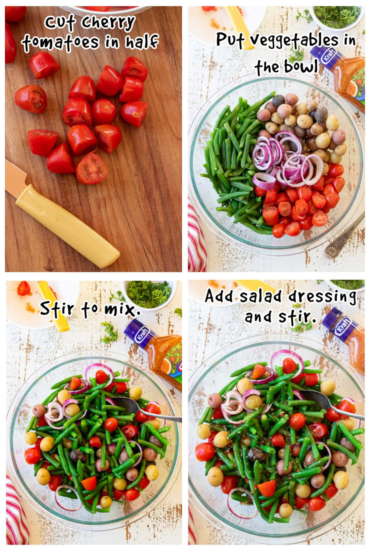 A collage of step by step images showing how to make this easy salad.