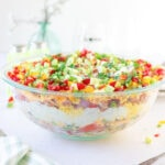 Side view of the cornbread salad showing the layers.