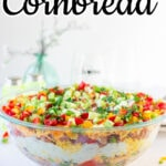 Side view of the cornbread salad showing the layers. Title text overlay for Pinterest.