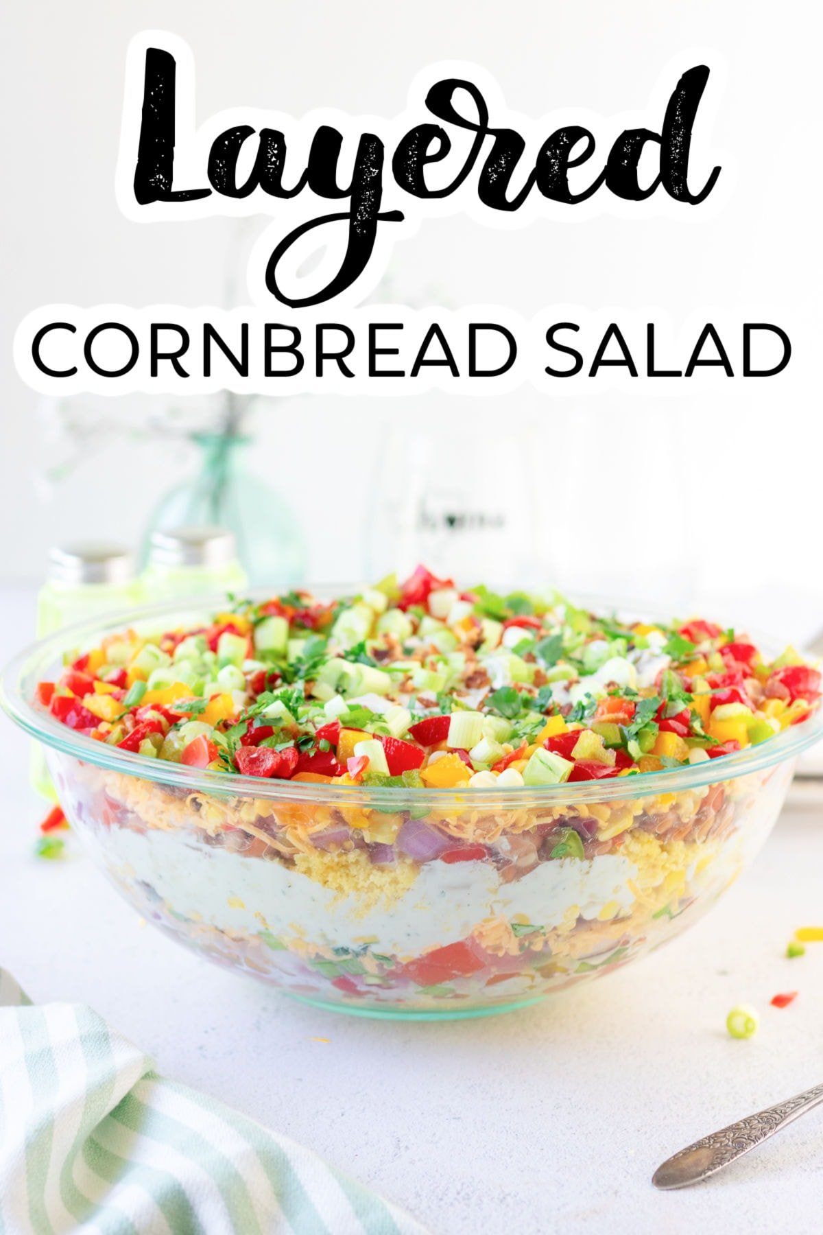 Title image for cornbread salad recipe with a text overlay.