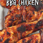 Overhead, closeup view of finished BBQ chicken breast. Text overlay for Pinterest.