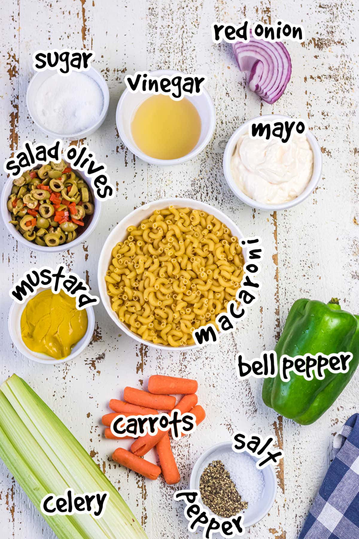 Labeled ingredients for macaroni salad.