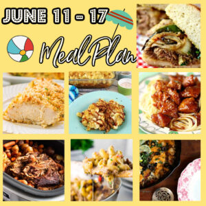 A collage of images showing the main dishes in this meal plan.