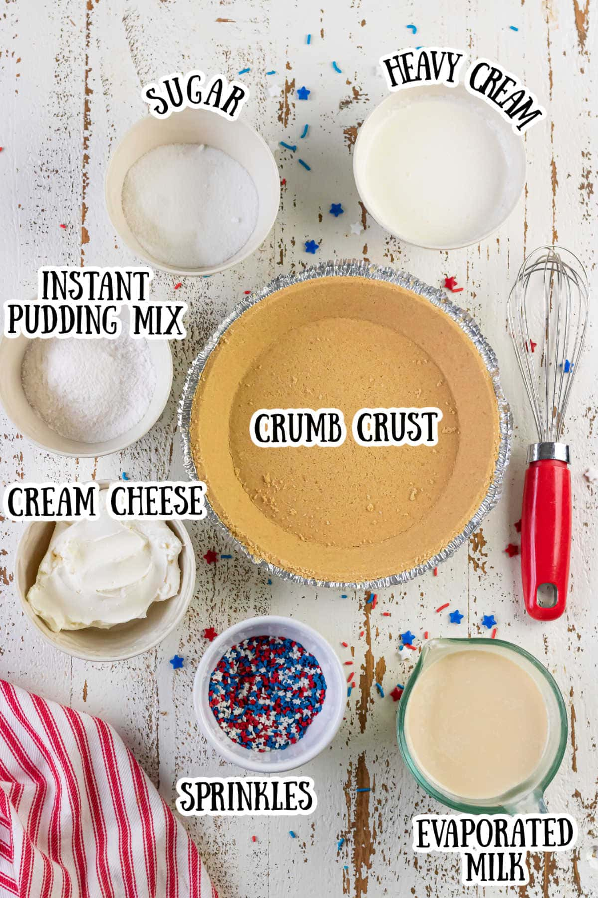 Labeled ingredients for no bake cheesecake pie.