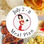 Collage of images from meal plan 28 for pinning to Pinterest.