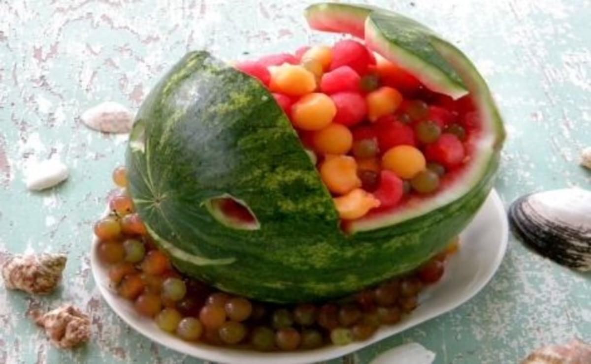 Watermelon basket shaped like a whale.