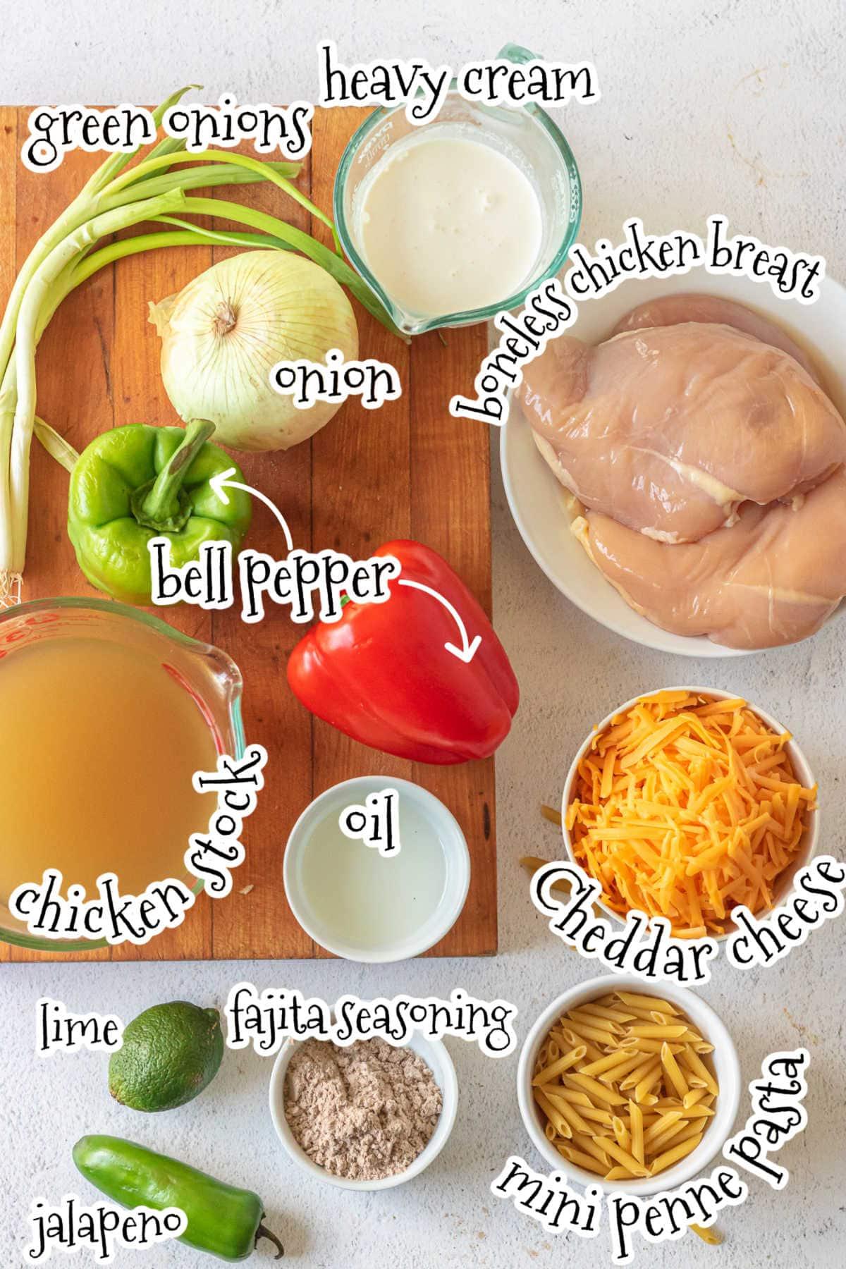 Labeled ingredients for fajita chicken pasta recipe.