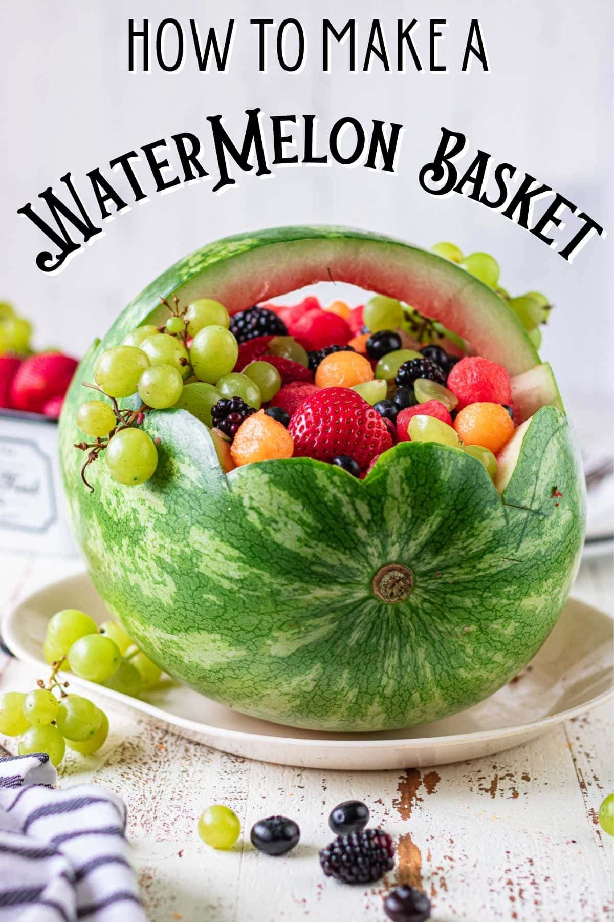 Side view of a finished watermelon basket on a table. Title text overlay.