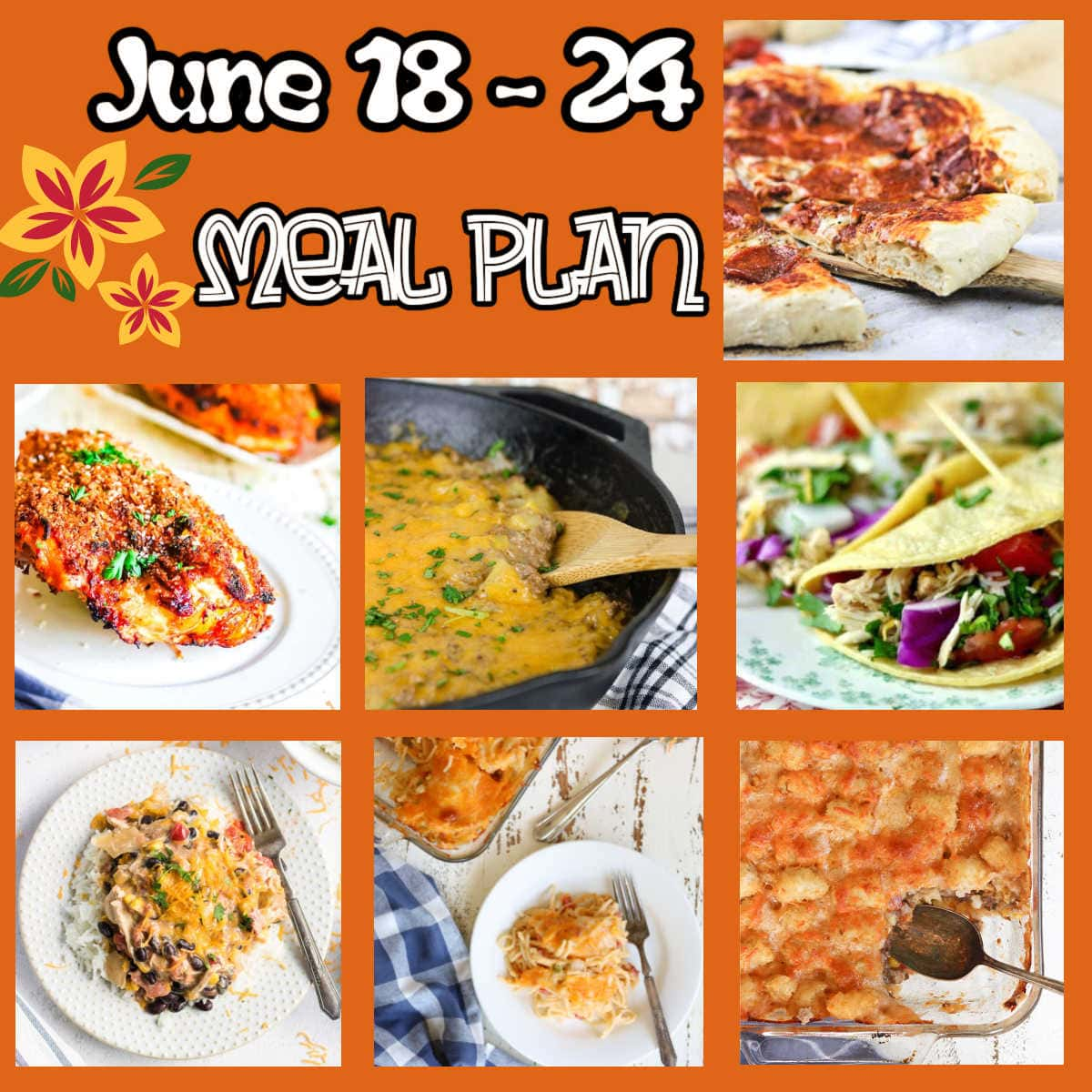 Collage of main dish images from this meal plan.