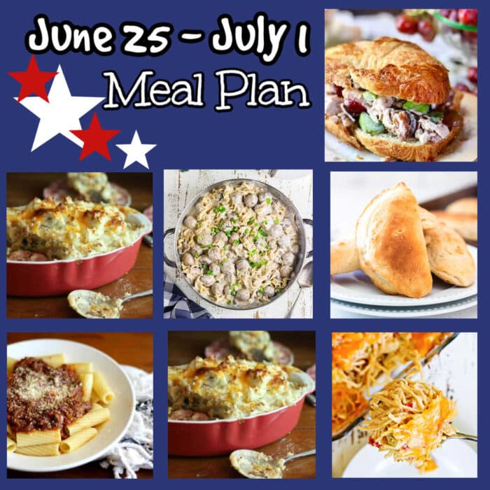 Collage of images of the recipes on this week's meal plan.