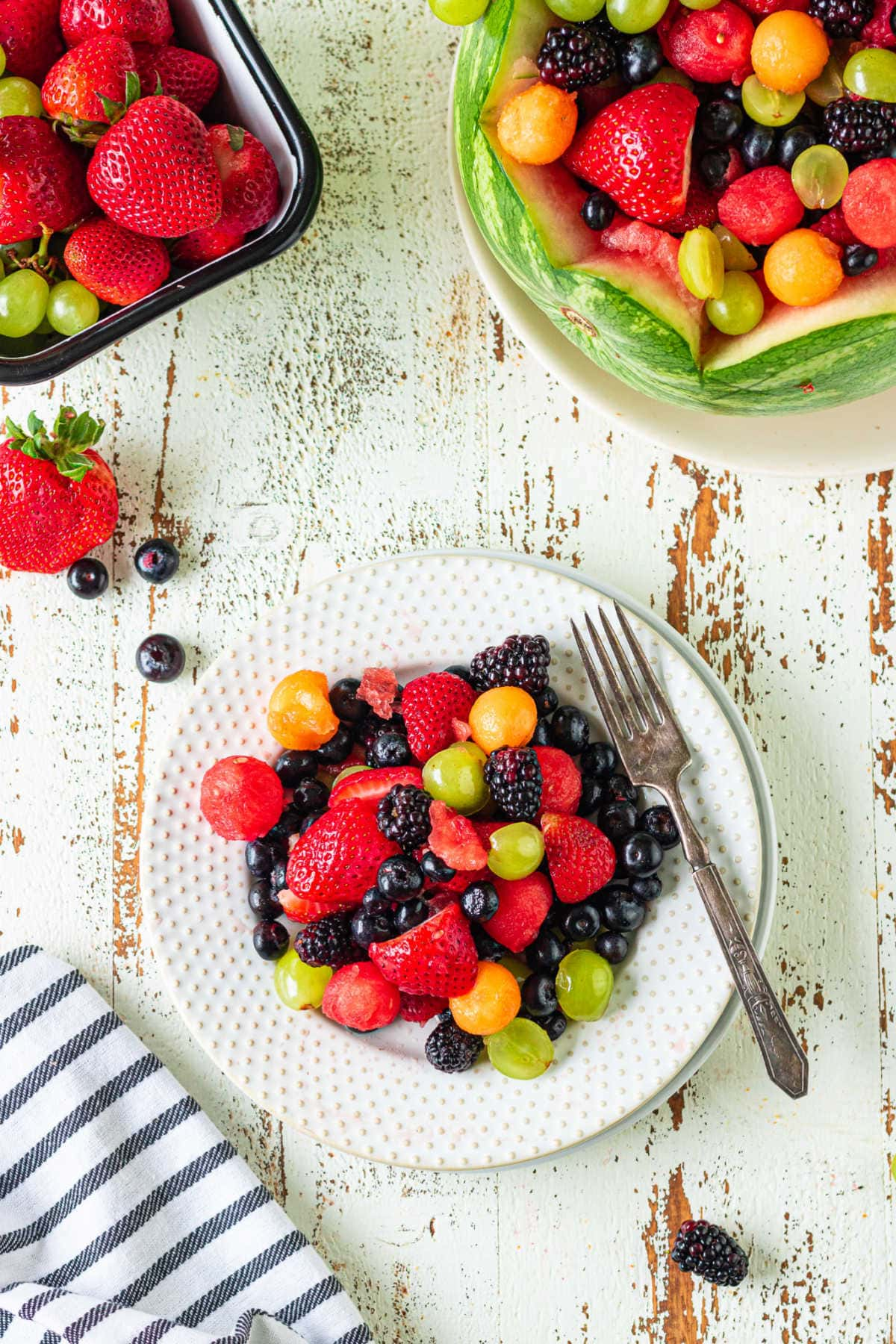 Overhead view of a plate of fruit.