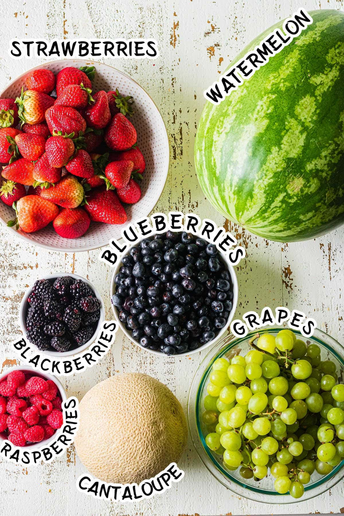 Labeled ingredients for a watermelon basket.