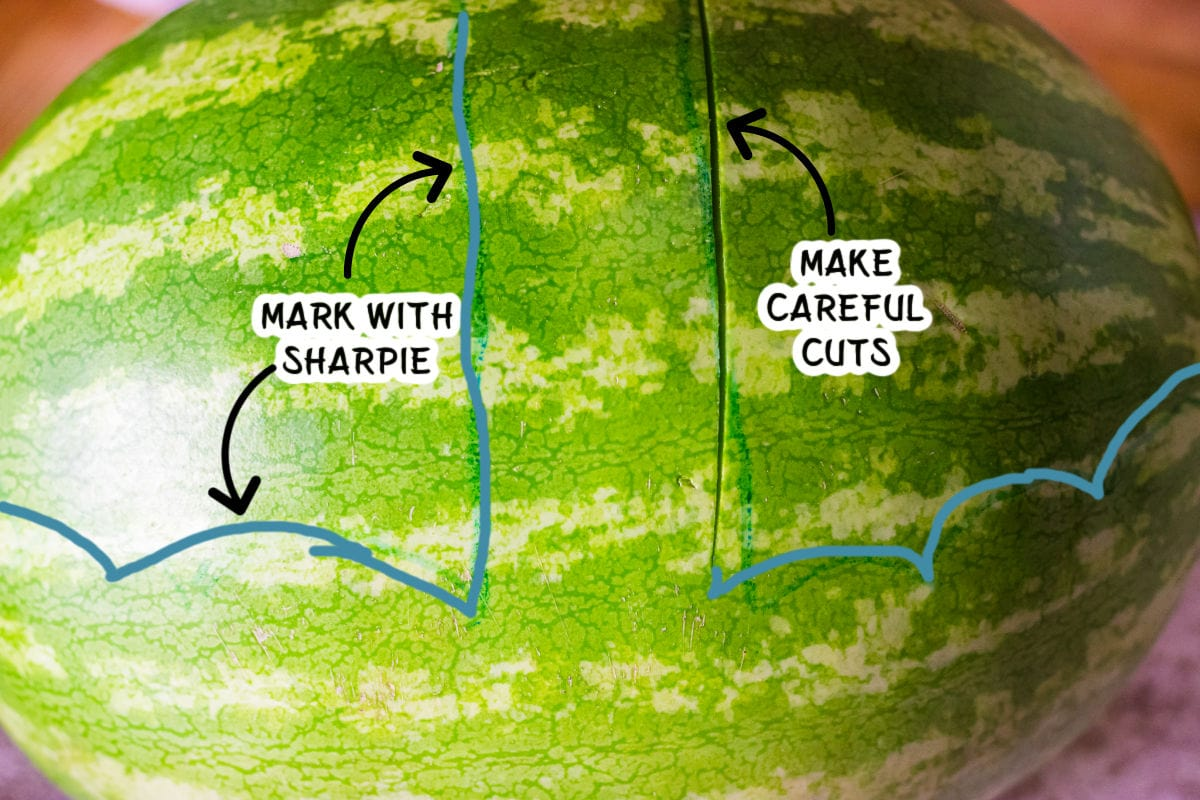 A watermelon with markings showing where to cut it.