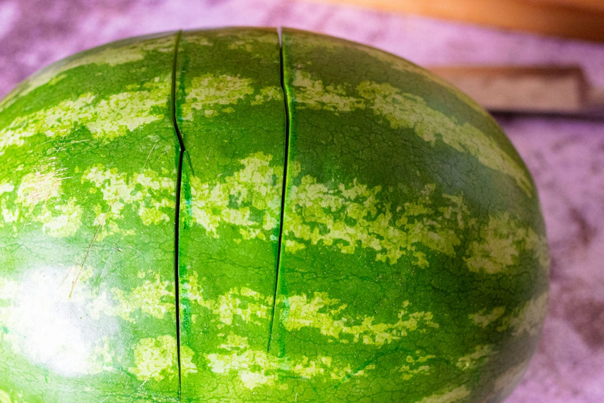 Two deep cuts on a watermelon outlining the handle.