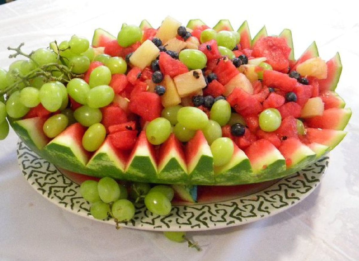 Watermelon basket carved into a bowl.