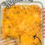 Overhead view of the casserole with a text overlay for Pinterest.