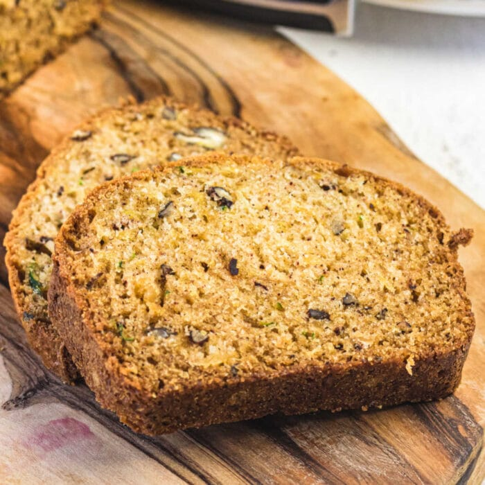 Closeup of zucchini bread slices for feature image.