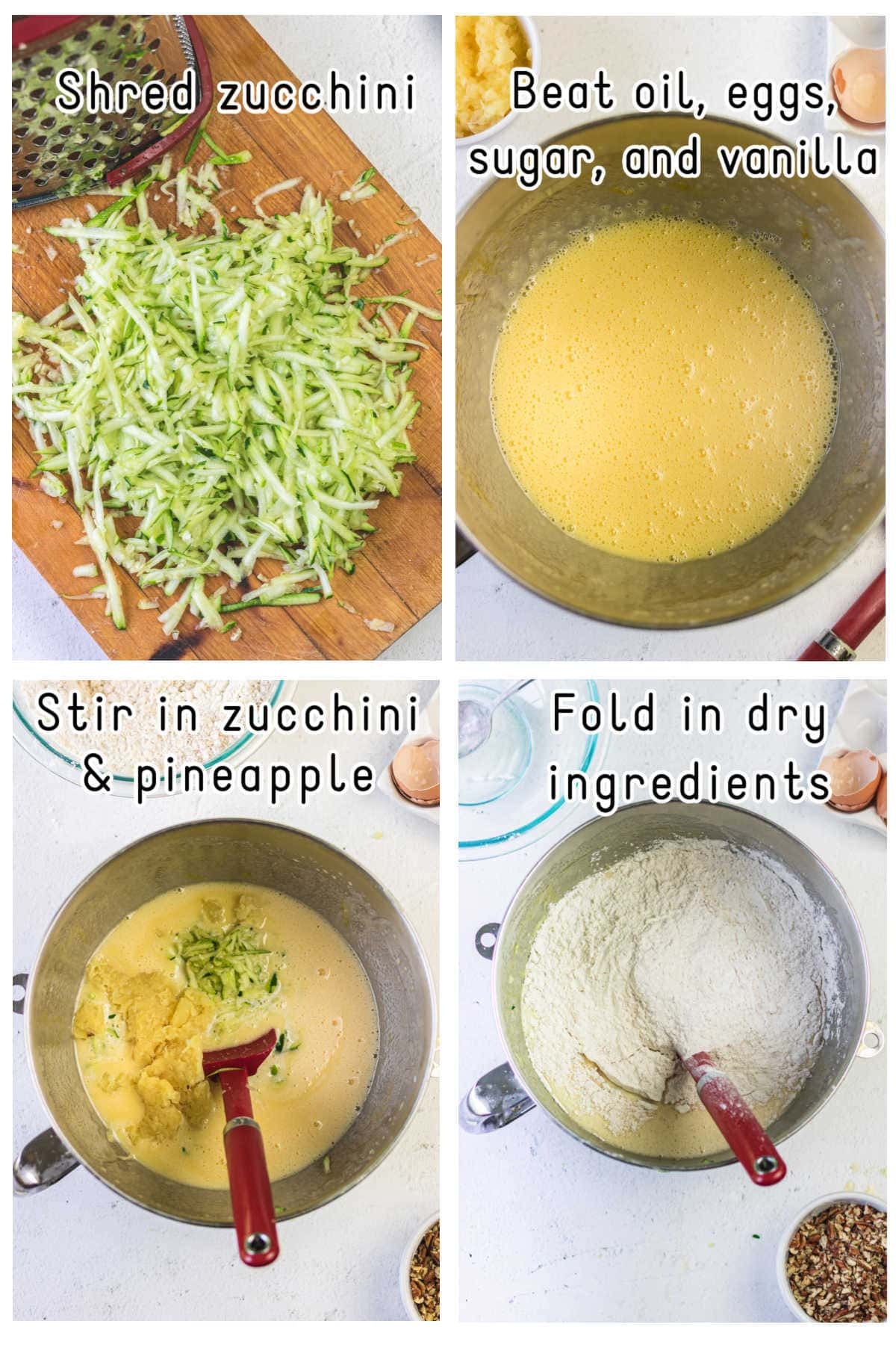 Steps 1 through 4 for making zucchini bread.