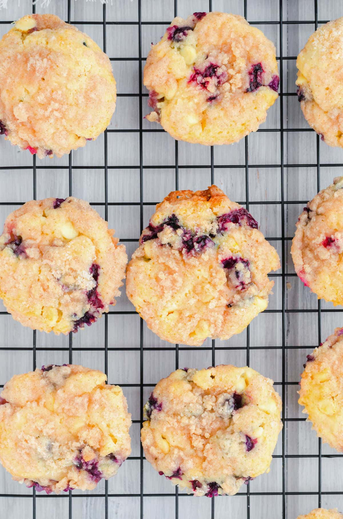 Decorative image. Overhead view of muffins on a cooling rack.